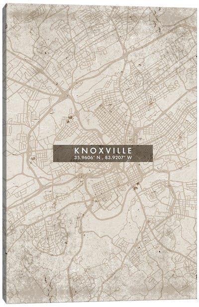Knoxville City Map Abstract Style Canvas Art Print