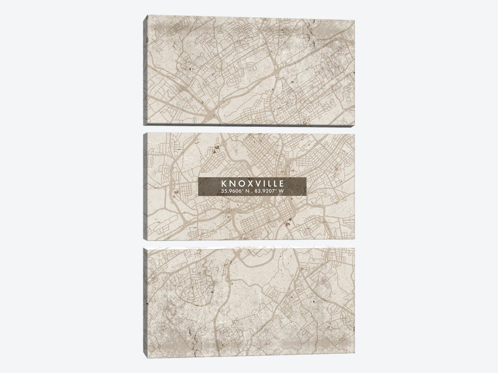 Knoxville City Map Abstract Style by WallDecorAddict 3-piece Canvas Print