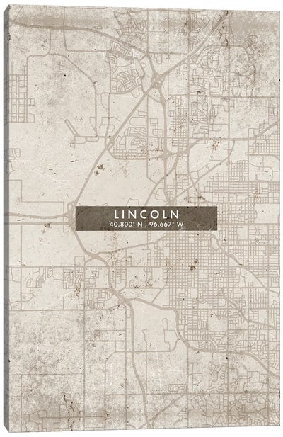 Lincoln  City Map Abstract Style Canvas Art Print