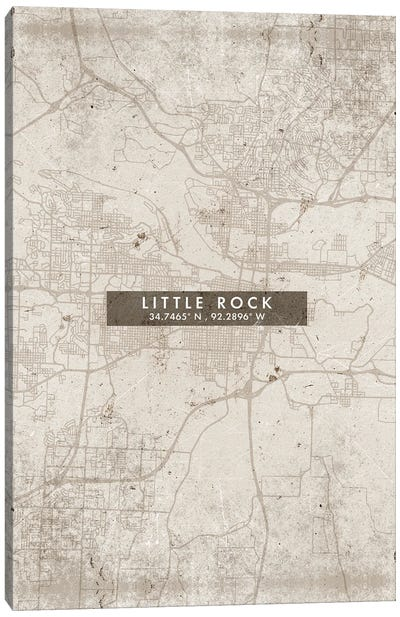 Little Rock City Map Abstract Style Canvas Art Print
