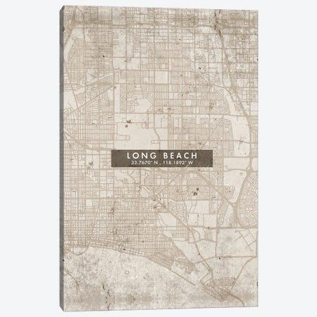 Long Beach City Map Abstract Style Canvas Print #WDA1958} by WallDecorAddict Canvas Art