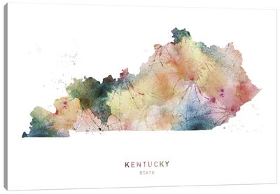 Kentucky Watercolor State Map Canvas Art Print