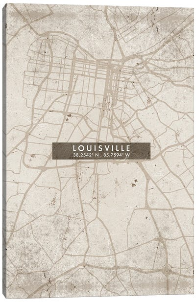 Louisville City Map Abstract Style Canvas Art Print