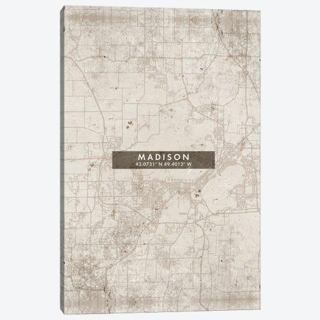 Madison City Map Abstract Style Canvas Print #WDA1961} by WallDecorAddict Canvas Print