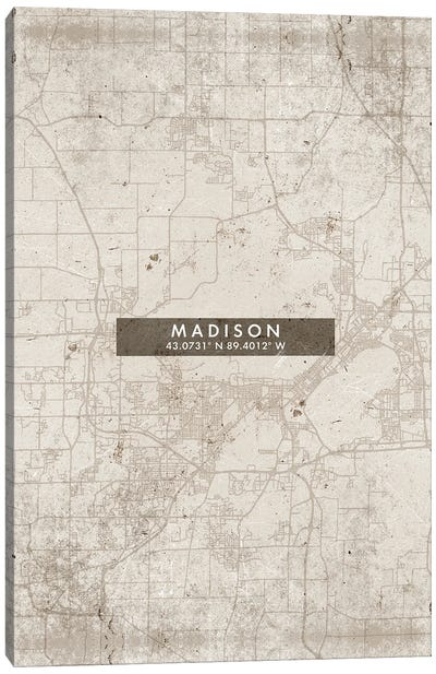 Madison City Map Abstract Style Canvas Art Print