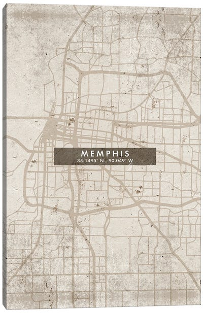 Memphis City Map Abstract Style Canvas Art Print