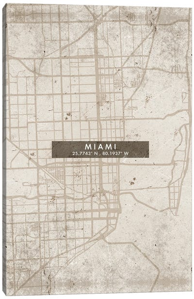 Miami City Map Abstract Style Canvas Art Print