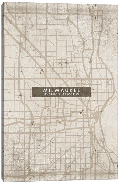 Milwaukee City Map Abstract Style Canvas Art Print