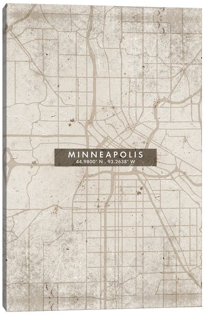Minneapolis City Map Abstract Style Canvas Art Print