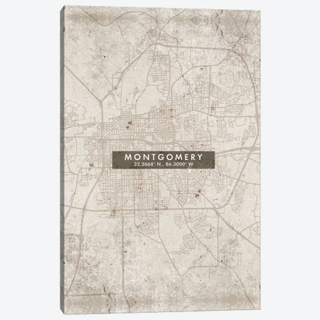 Montgomery  City Map Abstract Style Canvas Print #WDA1967} by WallDecorAddict Canvas Wall Art