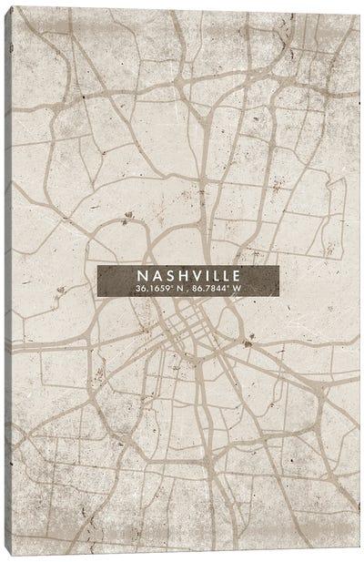 Nashville City Map Abstract Style Canvas Art Print