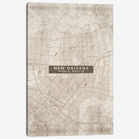 New Orleans City Map Abstract Style Canvas Print #WDA1969} by WallDecorAddict Canvas Print