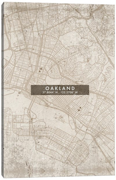 Oakland City Map Abstract Style Canvas Art Print