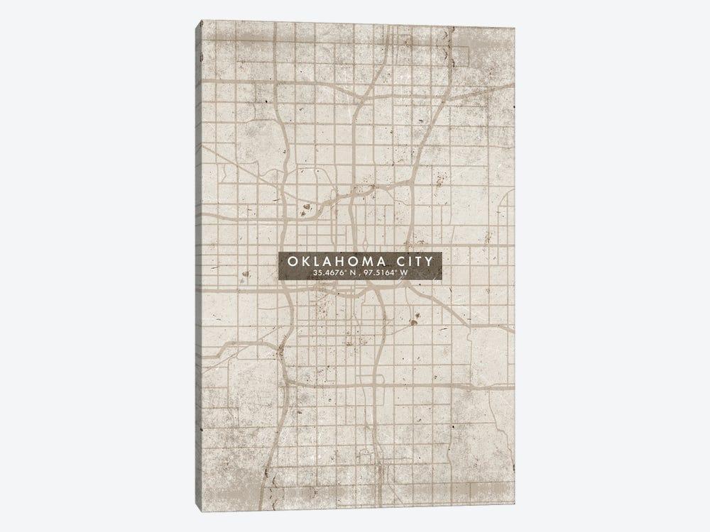 Oklahoma City Map Abstract Style by WallDecorAddict 1-piece Canvas Artwork