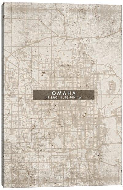 Omaha City Map Abstract Style Canvas Art Print
