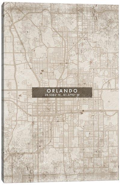 Orlando City Map Abstract Style Canvas Art Print