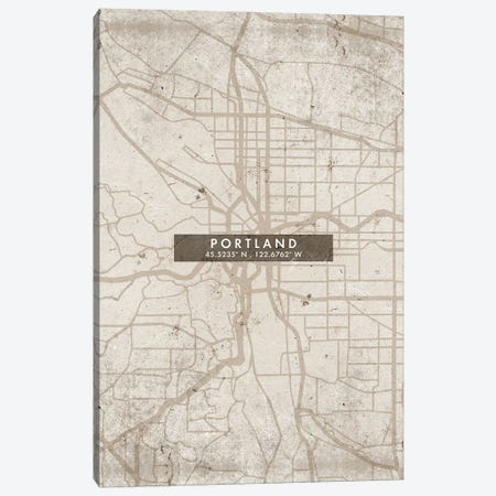 Portland City Map Abstract Style Canvas Print #WDA1979} by WallDecorAddict Canvas Artwork