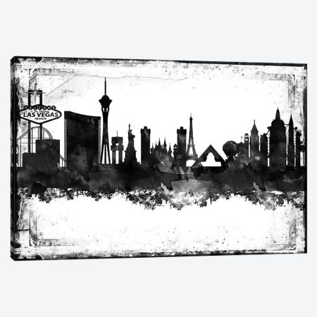 Las Vegas Black And White Framed Skylines Canvas Print #WDA197} by WallDecorAddict Canvas Artwork