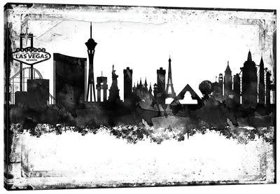Las Vegas Black And White Framed Skylines Canvas Art Print