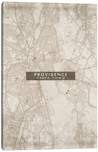 Providence City Map Abstract Style Canvas Art Print