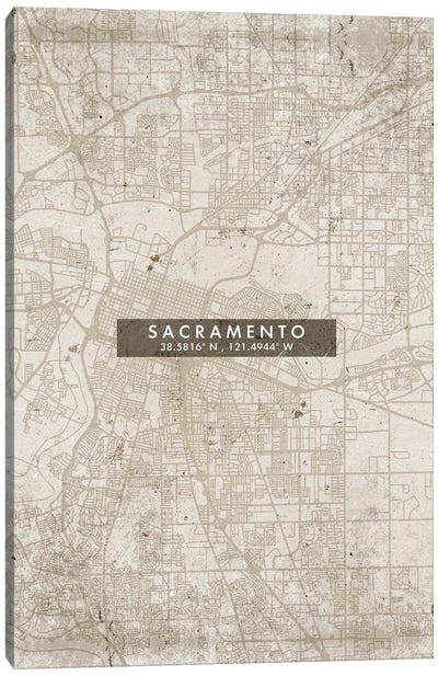Sacramento City Map Abstract Style Canvas Art Print
