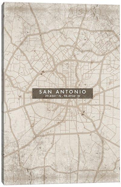 San Antonio City Map Abstract Style Canvas Art Print