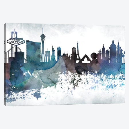 Las Vegas Bluish Skylines Canvas Print #WDA198} by WallDecorAddict Canvas Art Print