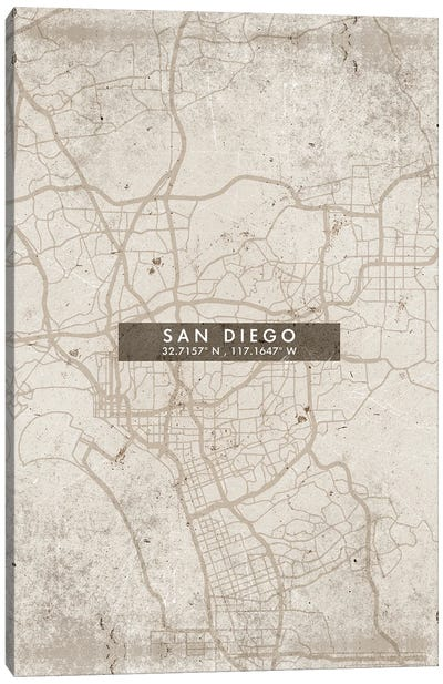 San Diego City Map Abstract Style Canvas Art Print