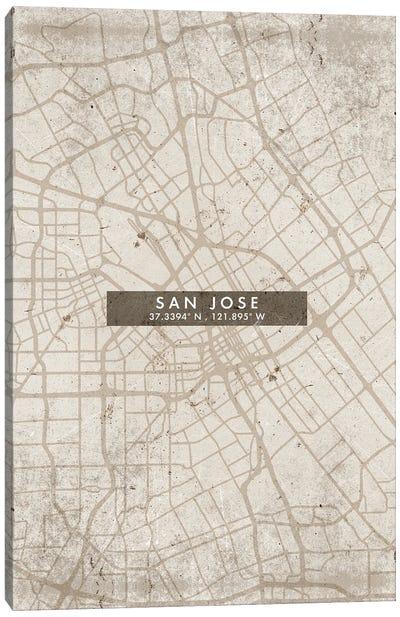 San Jose City Map Abstract Style Canvas Art Print