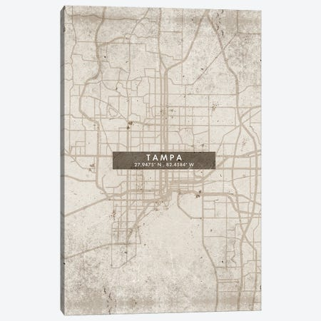 Tampa City Map Abstract Style Canvas Print #WDA2005} by WallDecorAddict Canvas Art Print