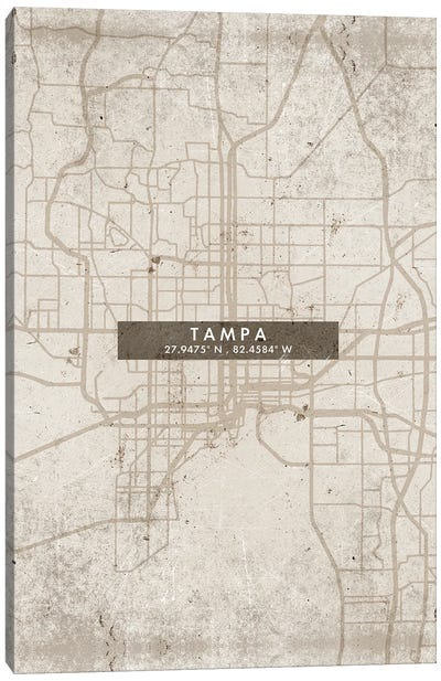 Tampa City Map Abstract Style Canvas Art Print