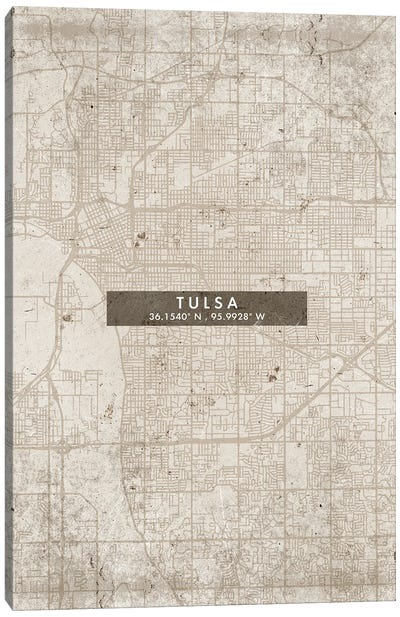 Tulsa City Map Abstract Style Canvas Art Print