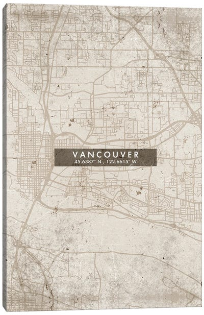 Vancouver City Map Abstract Style Canvas Art Print