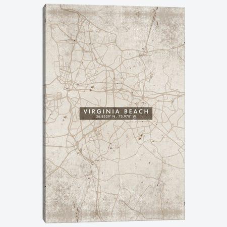 Virginia Beach City Map Abstract Style Canvas Print #WDA2009} by WallDecorAddict Canvas Wall Art