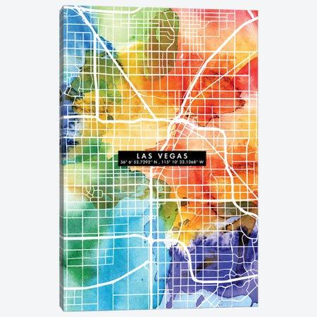 Las Vegas City Map Colorful Canvas Print #WDA200} by WallDecorAddict Art Print