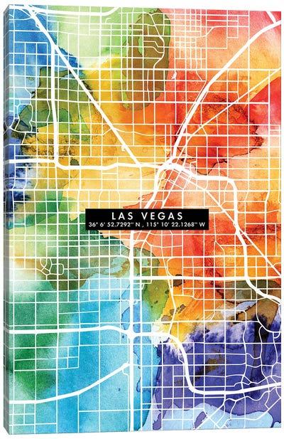 Las Vegas City Map Colorful Canvas Art Print