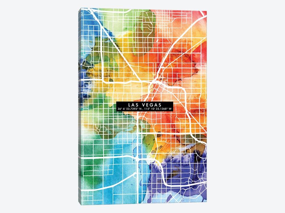 Las Vegas City Map Colorful by WallDecorAddict 1-piece Canvas Artwork