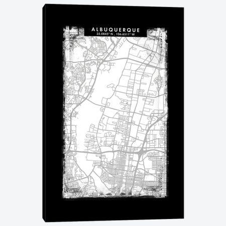 Albuquerque City Map Black White Grey Style Canvas Print #WDA2010} by WallDecorAddict Canvas Art Print
