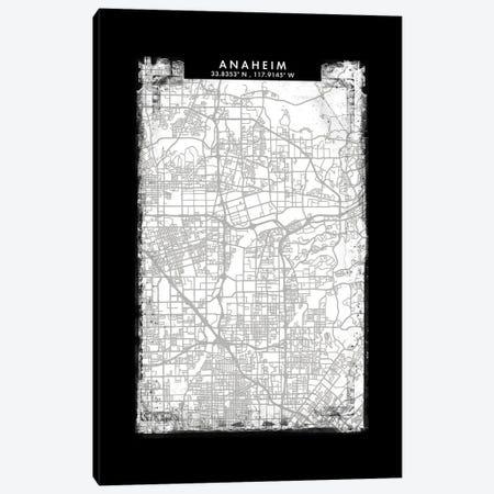 Anaheim City Map Black White Grey Style Canvas Print #WDA2011} by WallDecorAddict Canvas Print