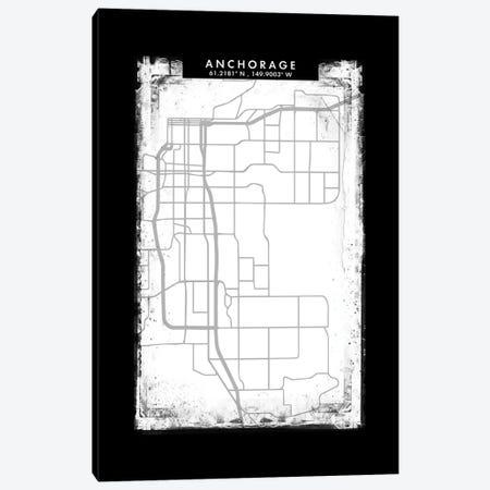 Anchorage City Map Black White Grey Style Canvas Print #WDA2012} by WallDecorAddict Canvas Print