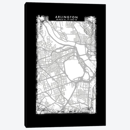 Arlington City Map Black White Grey Style Canvas Print #WDA2013} by WallDecorAddict Canvas Art Print