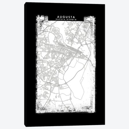 Augusta City Map Black White Grey Style Canvas Print #WDA2014} by WallDecorAddict Canvas Artwork