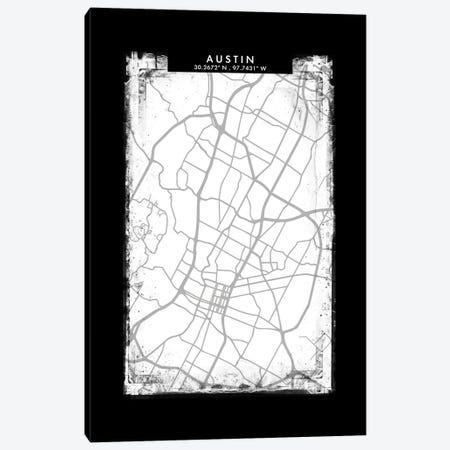 Austin City Map Black White Grey Style Canvas Print #WDA2016} by WallDecorAddict Canvas Wall Art