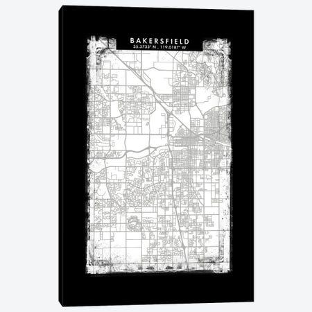 Bakersfield City Map Black White Grey Style Canvas Print #WDA2017} by WallDecorAddict Canvas Artwork