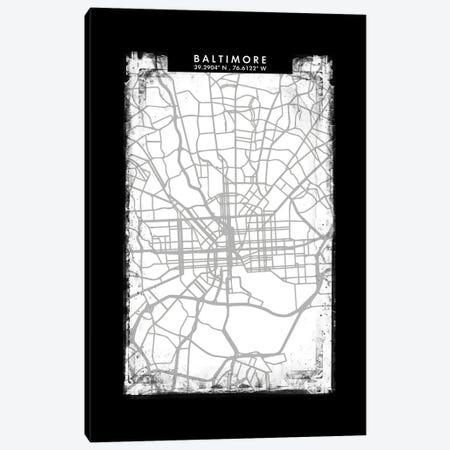 Baltimore City Map Black White Grey Style Canvas Print #WDA2018} by WallDecorAddict Canvas Art Print