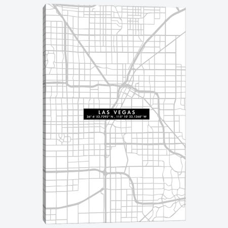 Las Vegas City Map Minimal Canvas Print #WDA201} by WallDecorAddict Art Print