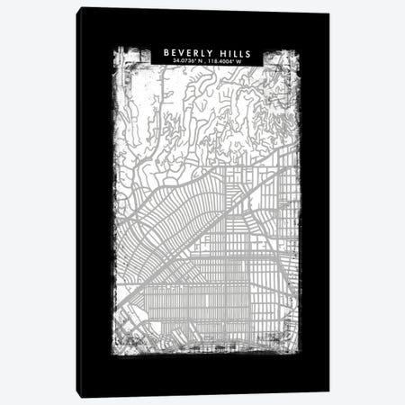 Beverly Hills City Map Black White Grey Style Canvas Print #WDA2021} by WallDecorAddict Canvas Art