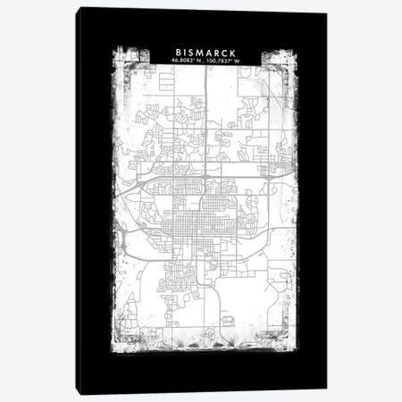 Bismarck, North Dakota City Map Black White Grey Style Canvas Print #WDA2022} by WallDecorAddict Canvas Wall Art