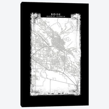 Boise City Map Black White Grey Style Canvas Print #WDA2023} by WallDecorAddict Canvas Wall Art