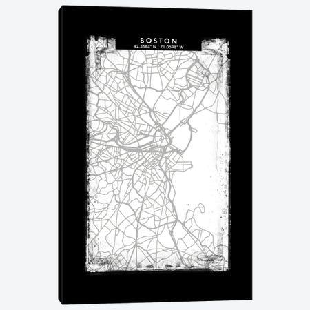 Boston City Map Black White Grey Style Canvas Print #WDA2024} by WallDecorAddict Art Print